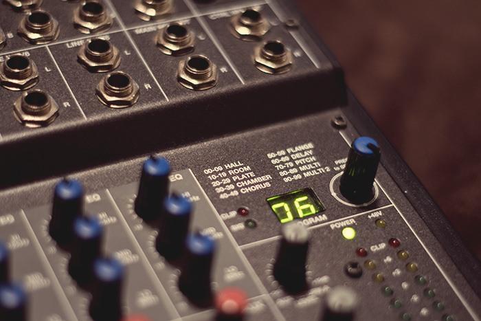 Réglages d'effets d'une table de mixage