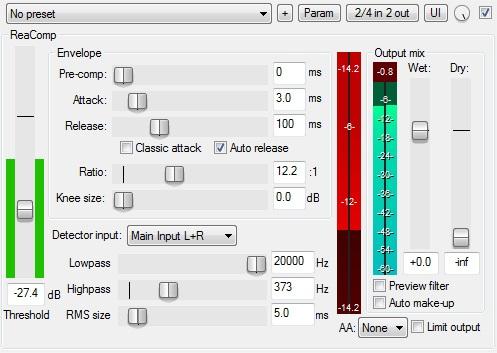 Le plugin de Compression ReaComp