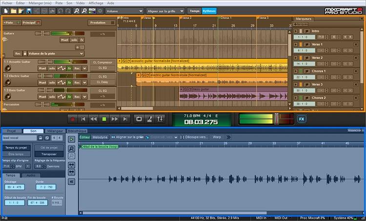 La fenêtre de Mixcraft 8 Pro Studio
