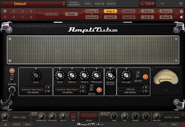 La suite d'effets et simulation d'ampli guitare Amplitube 4