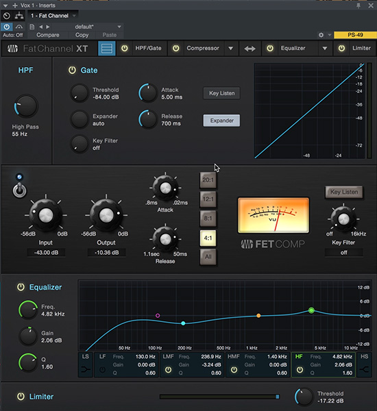 Le plugin Fat Channel de Studio One 3.5