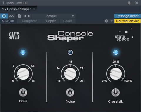 Le plugin MixFX Console Shaper de Studio One