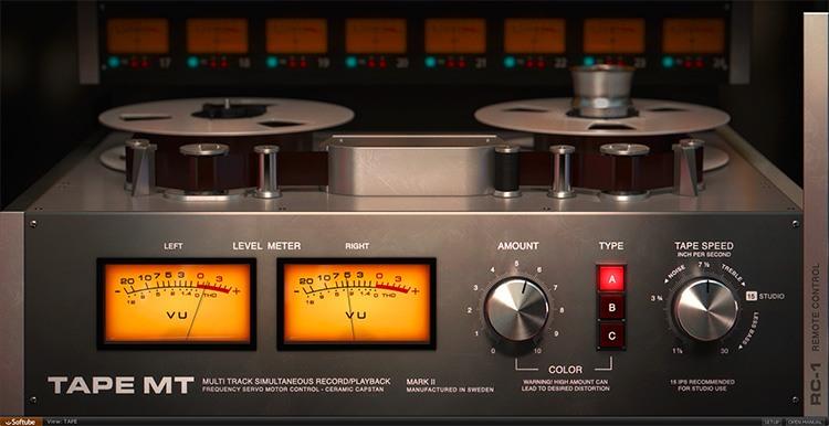 Interface du plugin Tape de Softube