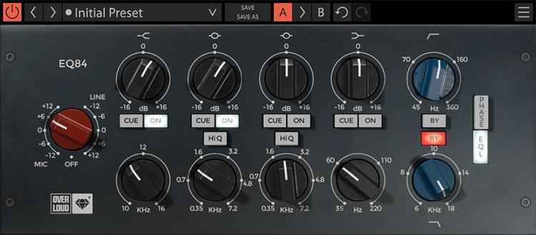 L'interface de l'égaliseur EQ84 d'Overloud