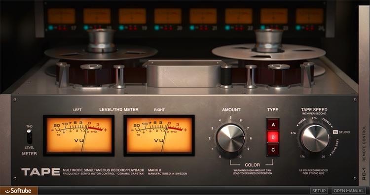 Le panneau principal du plugin Tape de Softube