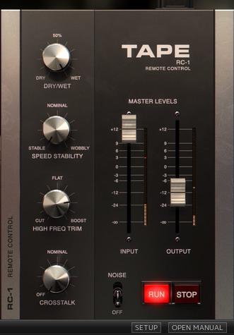 Le panneau d'options du plugin Tape de Softube