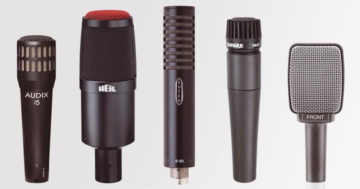 Exemples de microphones adaptés à la prise de son d'amplis guitare