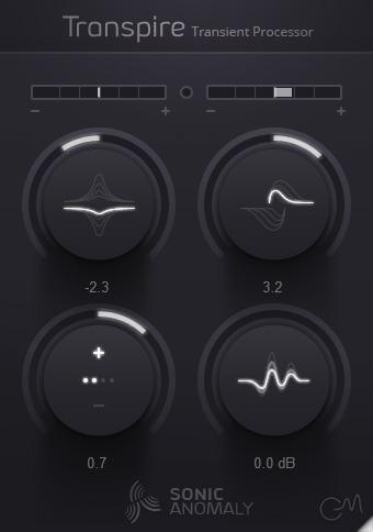 L'interface du Transient Shaper Transpire