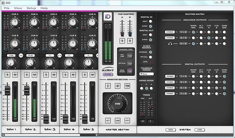 L'interface du logiciel de contrôle de l'iD22