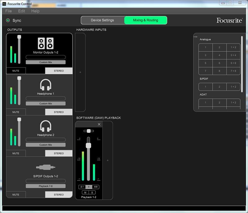 Le logiciel Focusrite Control livré avec la 18i8