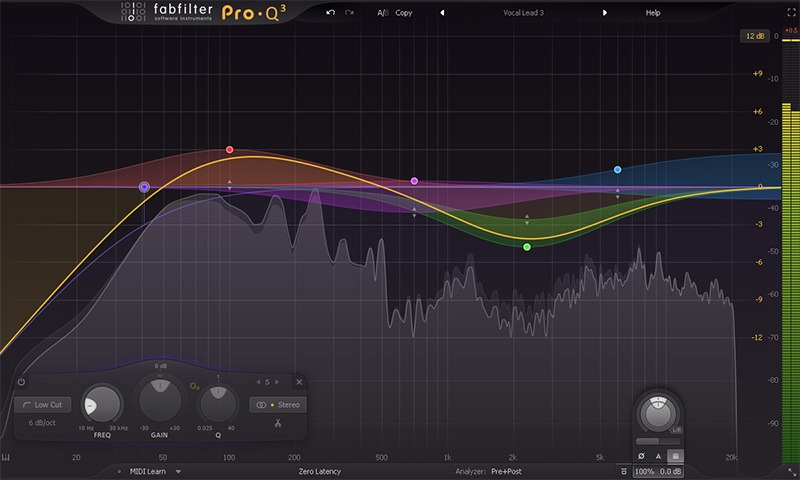 L'interface de l'égaliseur Pro-Q 3 de FabFilter