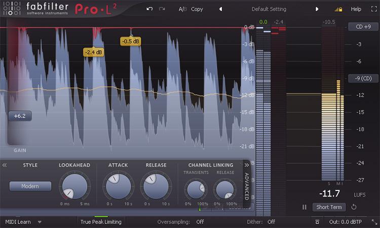 Le plugin de mastering Pro-L 2 de FabFilter
