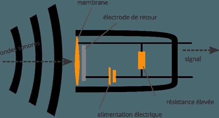 Principe de fonctionnement d'un microphone statique (à condensateur)
