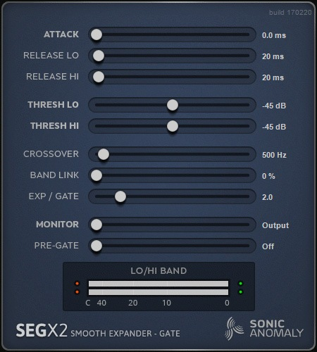 Le plugin de Gate / Expandeur SEGX2 de Sonic Anomaly