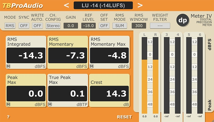 L'interface de DPMeter4 de TBProAudio
