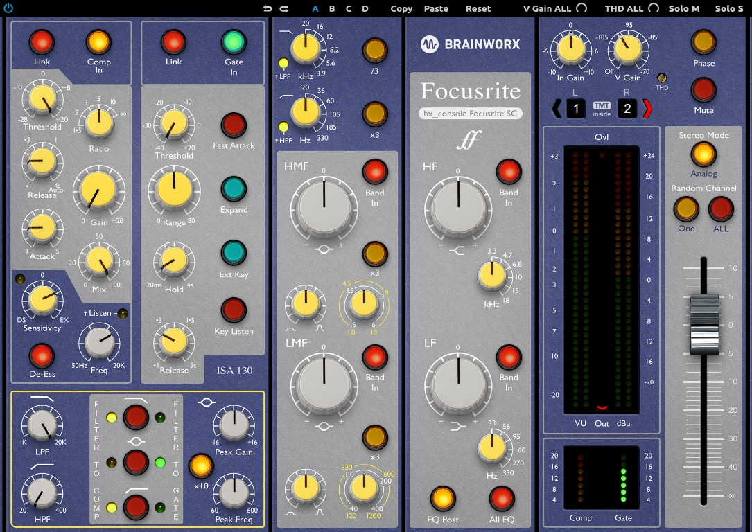 L'interface de bx_console Focusrite SC