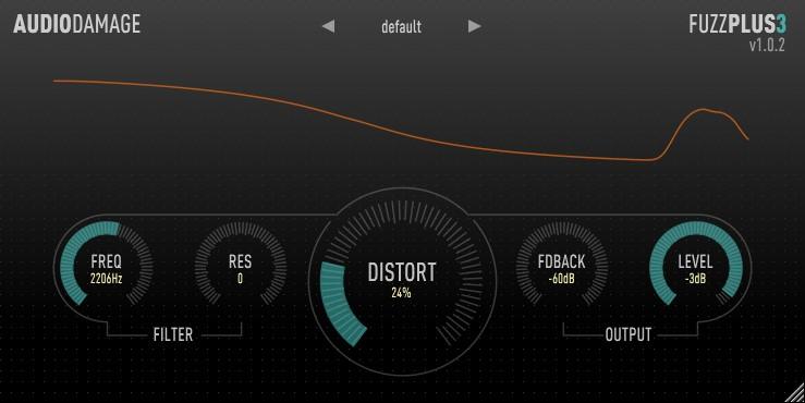 Le plugin de distorsion gratuit FuzzPlus 3 d'Audio Damage