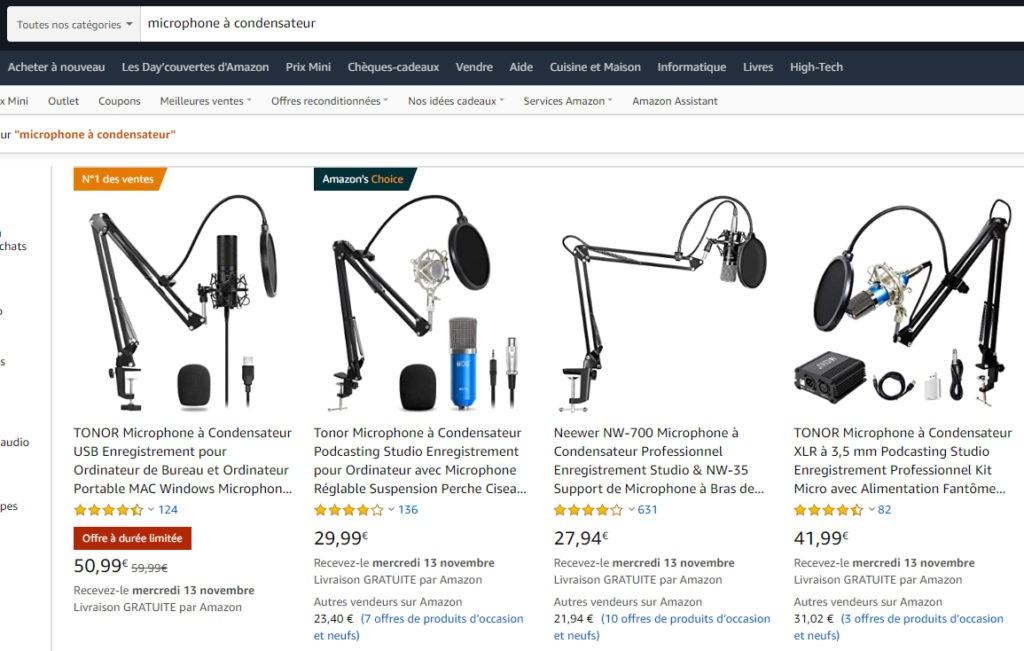 Des microphones pas chers sur Amazon