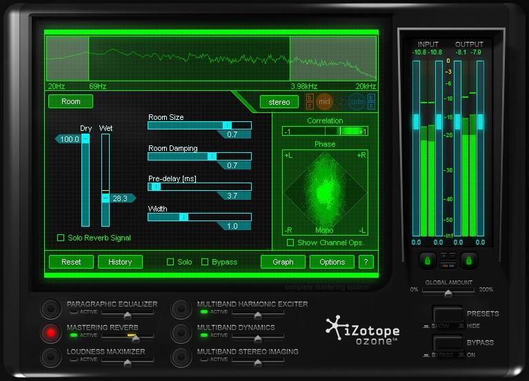Réverbe Mastering sur le plugin iZotope Ozone 4