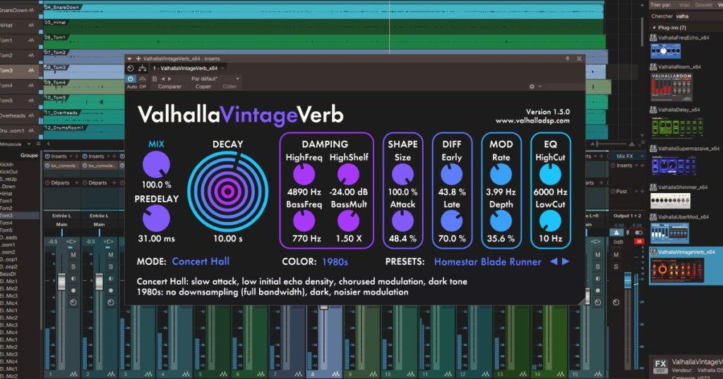 Exemple de réverbe utilisée pour le mixage audio