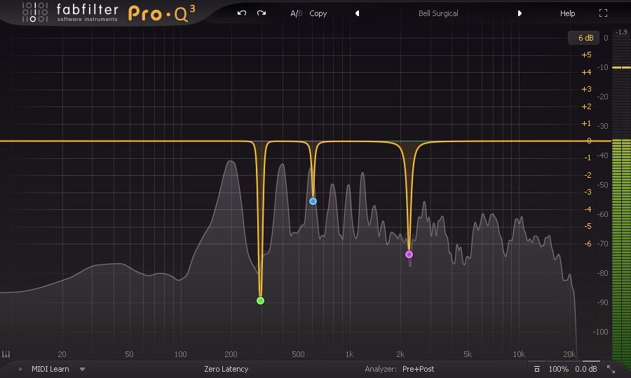 Exemple d'égalisation de résonances sur une piste de voix