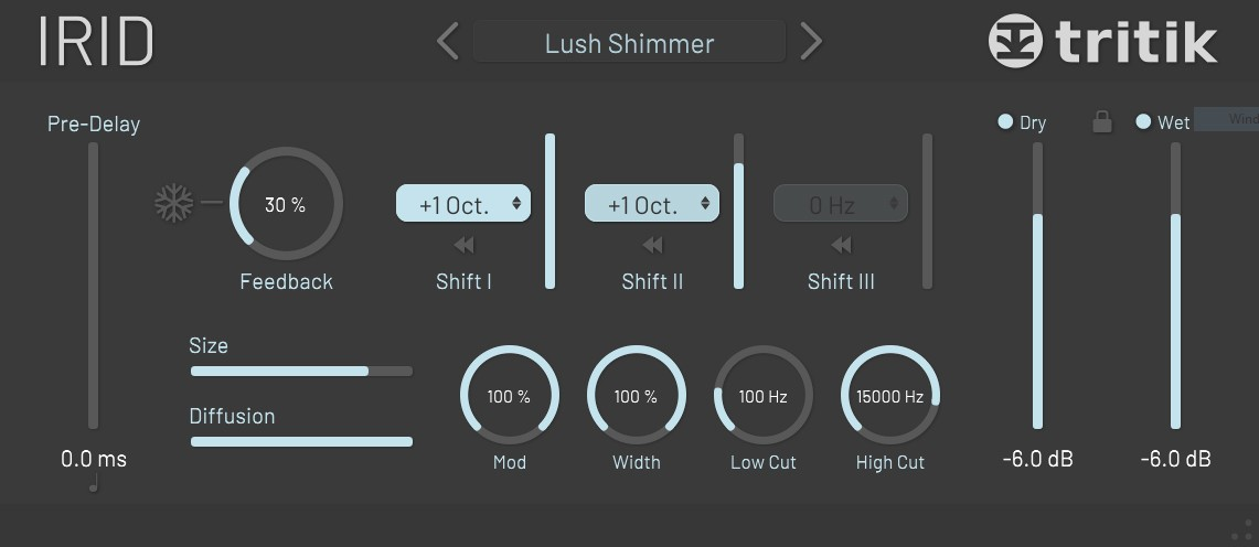 L'interface de la réverbe shimmer Tritik Irid