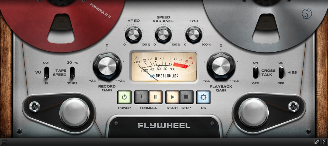 L'interface du plugin Flywheel de Fuse Audio Labs