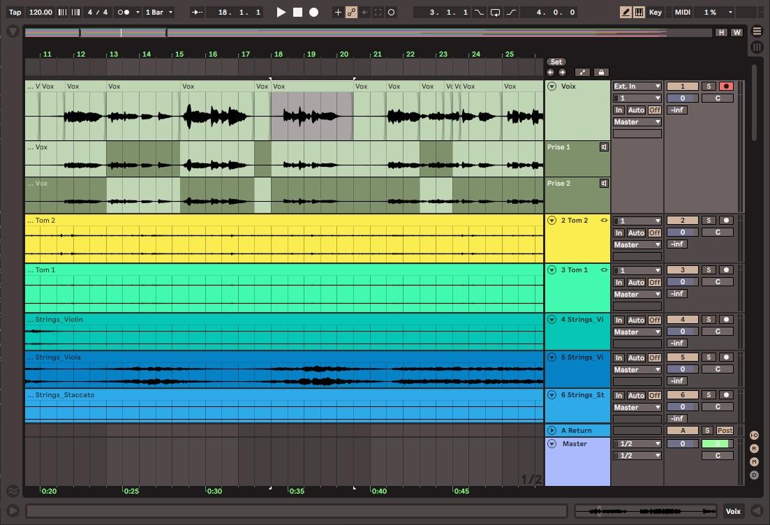 L'écran Arrangement d'Ableton Live 11