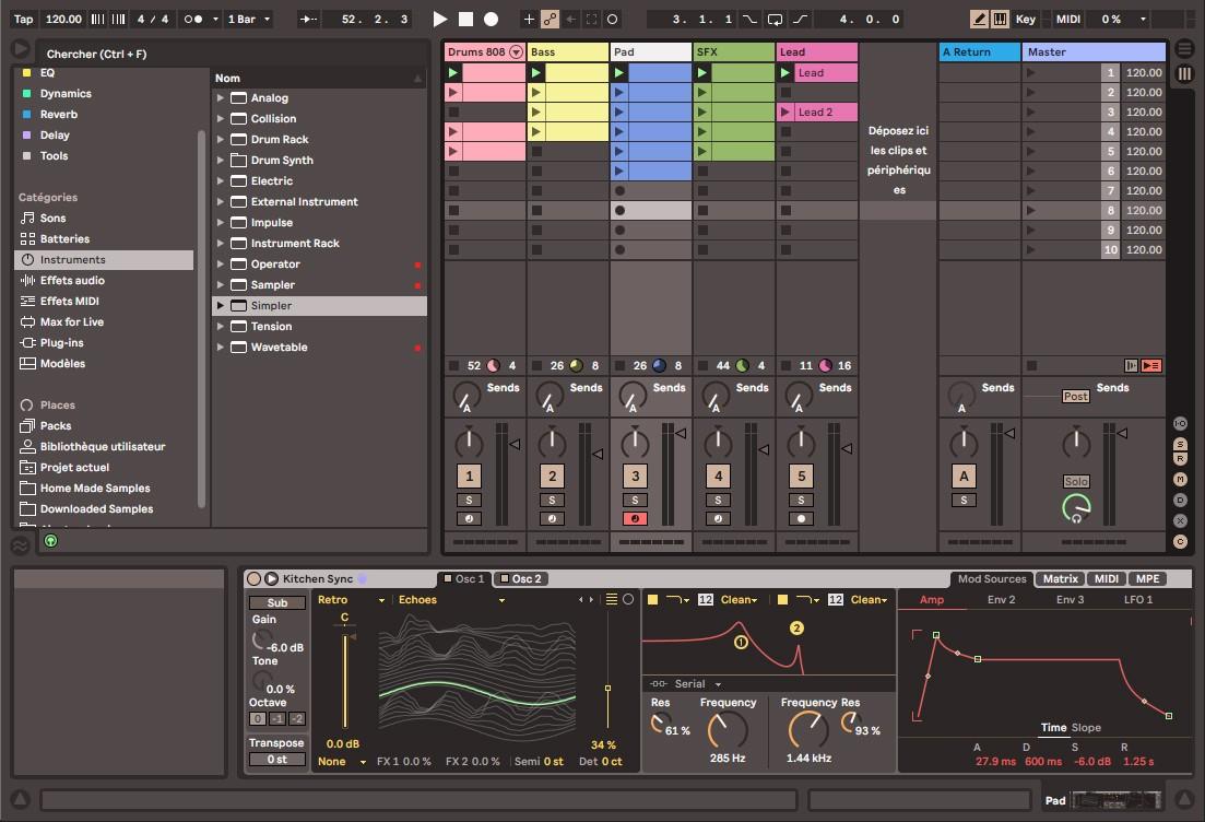 L'écran Session d'Ableton Live 11