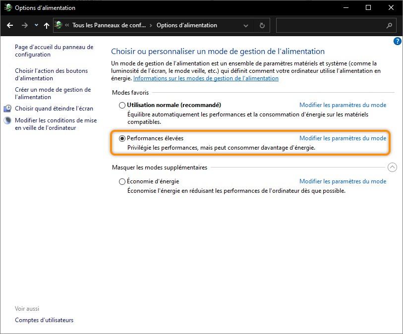 """Mode de gestion d'alimentation """"Performances élevées"""" sous Windows"""