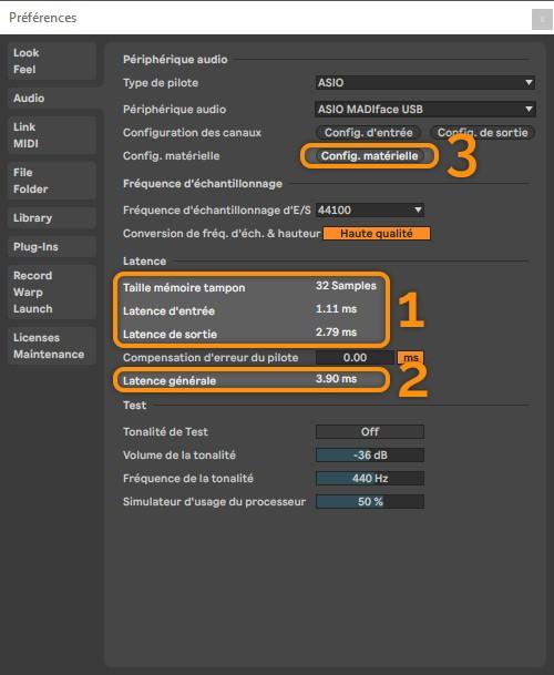 Réglage du buffer et de la latence sur un DAW (Ableton Live)